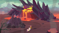 Smolder, Spike, and Fluttershy enter Dragon Lands S9E9