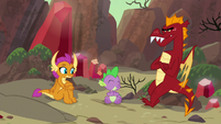 Smolder, Spike, and Garble in sharing circle S9E9
