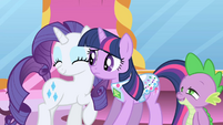 Spike gazing at happy Rarity S1E1