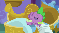 Spike groaning as he awakens S8E21