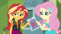 Sunset giving her failed test to Fluttershy CYOE5