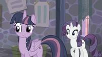 Twilight and Rarity hear Pinkie S5E02