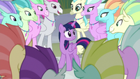 Twilight surrounded by Hippogriffs S8E6
