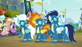 Wonderbolts looking up at the sky S6E7.png