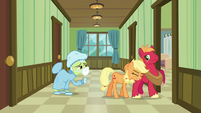 Applejack pushing Big Mac into a hospital room S6E23