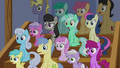 Audience of ponies in silent surprise S6E4.png
