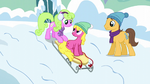 Daisy, Cherry Berry, and Caramel sledding S5E5