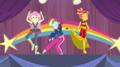 Fluttershy, Rainbow Dash, and Sunset rehearsing EGS1.png