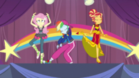 Fluttershy, Rainbow Dash, and Sunset rehearsing EGS1