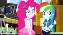 Pinkie Pie and Rainbow Dash watch Rarity EGDS12