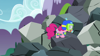 Pinkie Pie climbing mountain of rocks S4E18