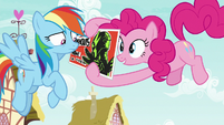 Pinkie showing Washouts flyer to Rainbow S8E20