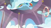 Rainbow Dash arcing downward S8E12