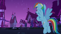 Rainbow Dash looking out toward Ponyville S6E15