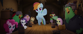 Rainbow Dash points her hoof at Celaeno MLPTM