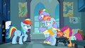 Rainbow Dash smacks her father's hoof away S7E7.png