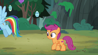 Rainbow and Scootaloo return to the campsite S7E16