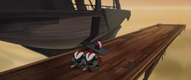 Tempest and Grubber boarding the skiff MLPTM