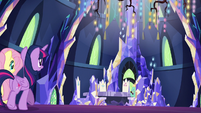 Twilight and Fluttershy enter the sparkly throne room S6E11