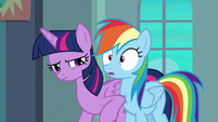 Twilight nudging Rainbow with her elbow S6E24