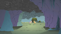 Applejack and Fluttershy outside the cave S1E07