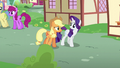 Applejack and Rarity walk through Ponyville S6E10.png