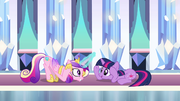 Cadance and Twilight doing the --Sunshine-- dance in the Crystal Empire S3E01