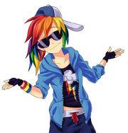 FANMADE Human Rainbow Dash shrugging