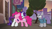 Pinkie Pie and Rarity hugging S6E3