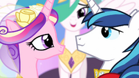 Princess Cadance and Shining Armor smiling at each other S02E26