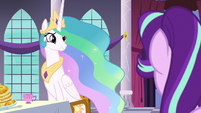 Princess Celestia looks skeptical at Starlight S7E10