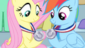Rainbow and Fluttershy's silver medals S4E24.png