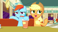 "Rainbow drinking; Applejack ""considers"" Twilight's remix to not be catchy S6E9"