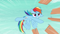 Rainbow tossing wood slats and nails S8E9