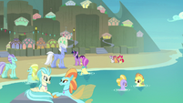 Twilight, CMC, Hippogriffs, and seaponies on the beach S8E6