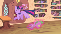 Twilight flying while levitating Spike S4E11