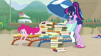 Twilight running numbers; Pinkie looks bored EGDS21