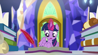 Twilight writing a reply to Sunset Shimmer EGSBP