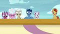 Velvet, Night Light, and ponies look over side of airship S7E22.png
