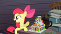 Apple Bloom pointing at the gingerbread house S4E09.png