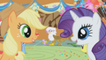 Applejack and Rarity laugh at spitting snakes prank S01E05.png