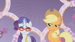 Applejack disapproves Rarity's fashion choice S1E14
