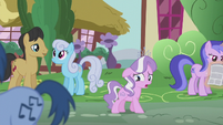 Diamond Tiara sings while walking through Ponyville S5E18