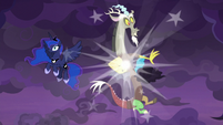 Discord appears in the sky beside Luna S9E17