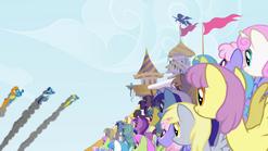 Los ponies mirando a los wonderbolts S1E3