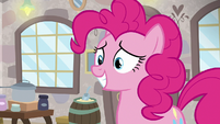 Pinkie Pie grinning at Mudbriar S8E3