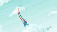 Rainbow Dash dive-bombs out of the sky S9E3