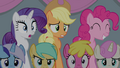 Rarity and AJ shocked, Pinkie pleased S4E24.png