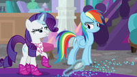 Rarity scoffing at Rainbow Dash S8E17
