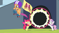 Scootaloo breaking through the hoop S4E24.png